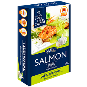 Salmon fillet portion in garlic marinade
