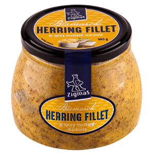 BISMARCK marinated herring fillet pieces in mustard marinade