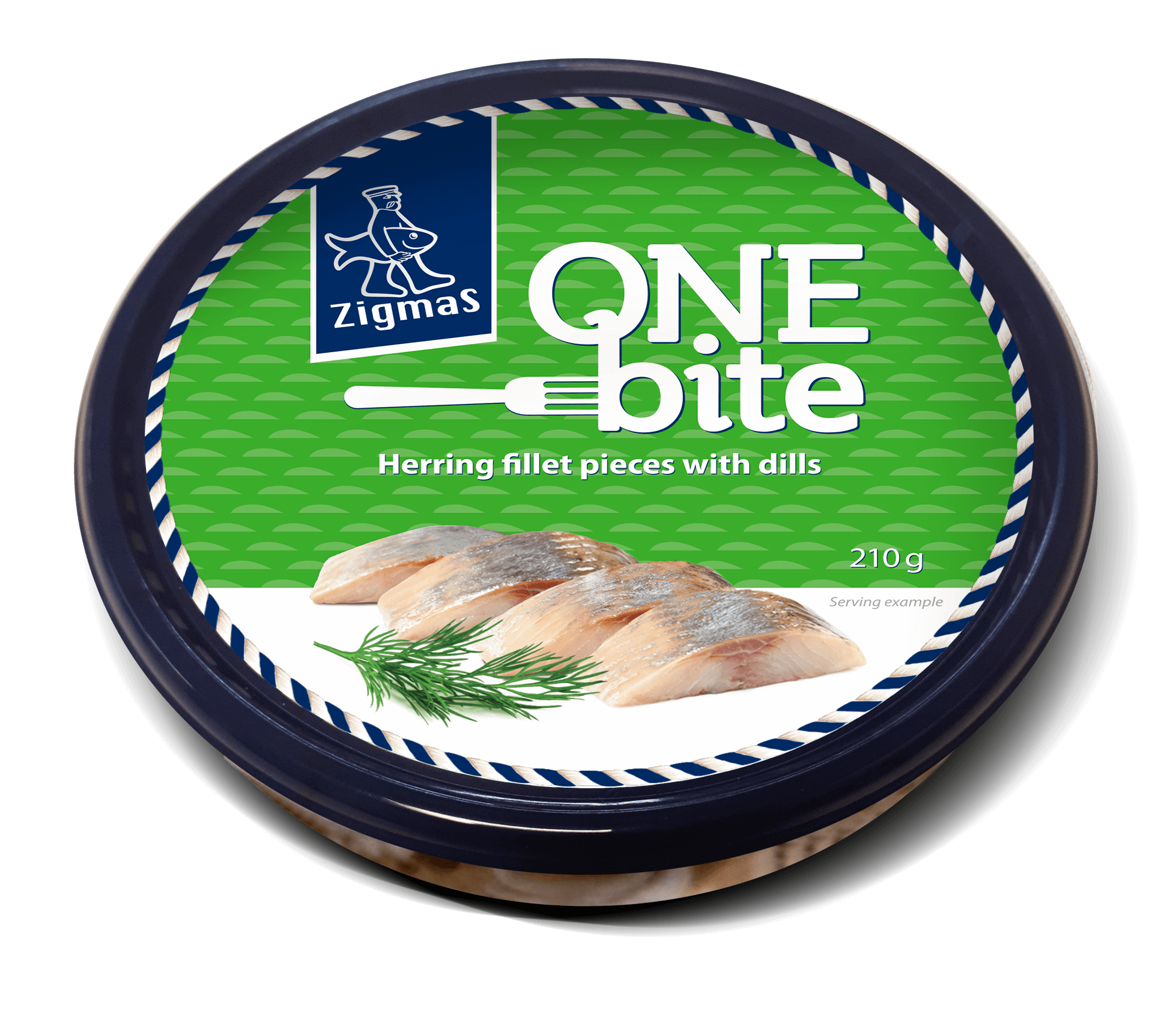 ONE BITE herring fillet pieces with dills