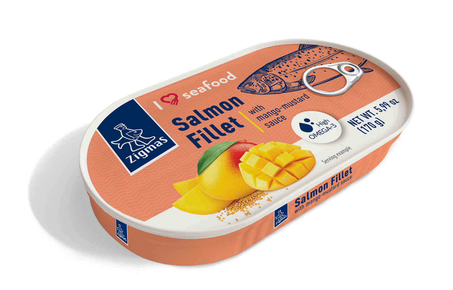 Salmon fillet with mango-mustard sauce