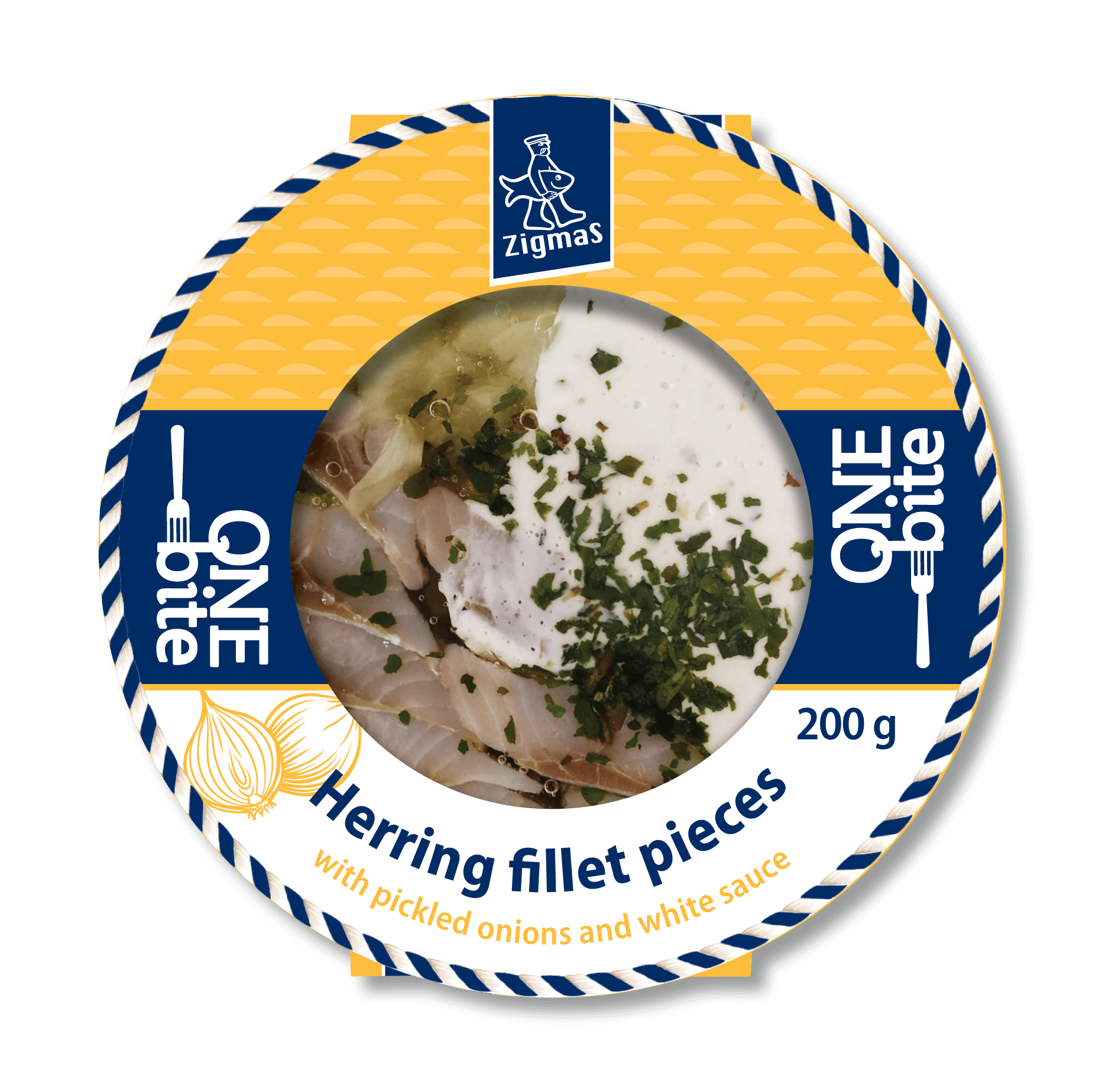 Herring fillets pieces with pickled onions and white sauce