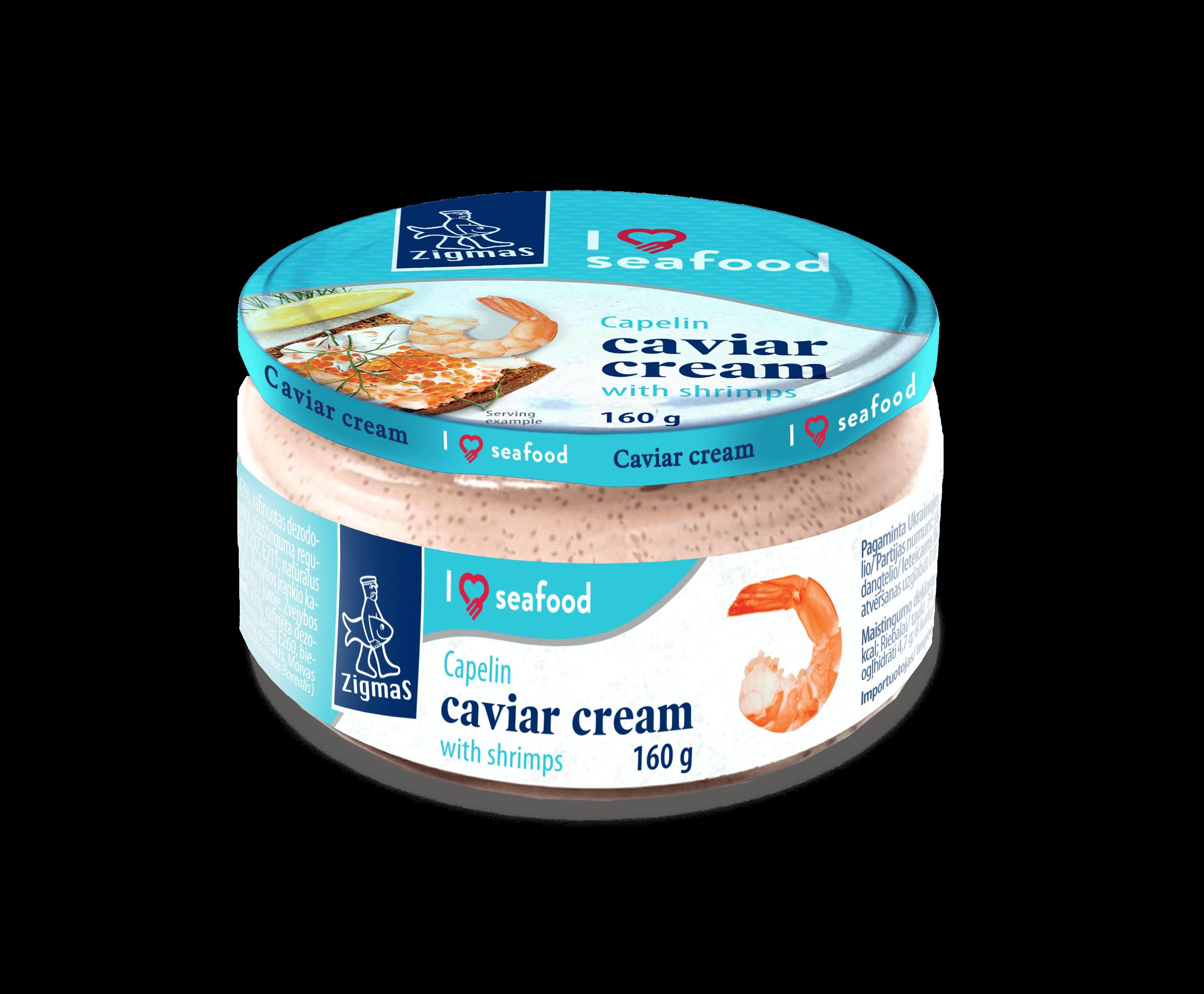 Capelin caviar cream with shrimps